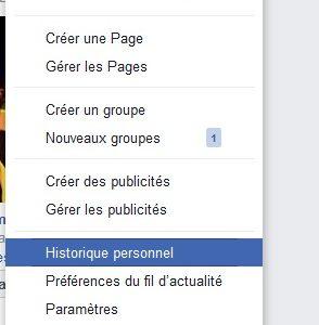 historique personnel Facebook